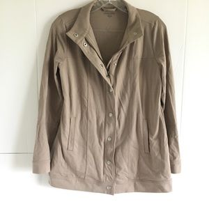 Eileen Fisher taupe organic cotton sweater jacket